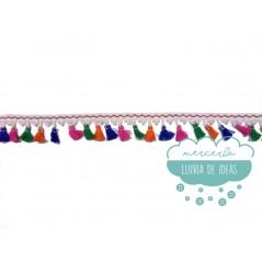 Fleco de borlas multicolor - Serie Bella