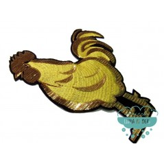 Aplicación bordada con lentejuelas - Gallo dorado