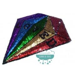 Aplicación termoadhesiva con lentejuelas - Diamante Loved multicolor