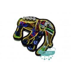 Aplicación decorativa bordada con piedras, rocalla y lentejuelas - Elefantes