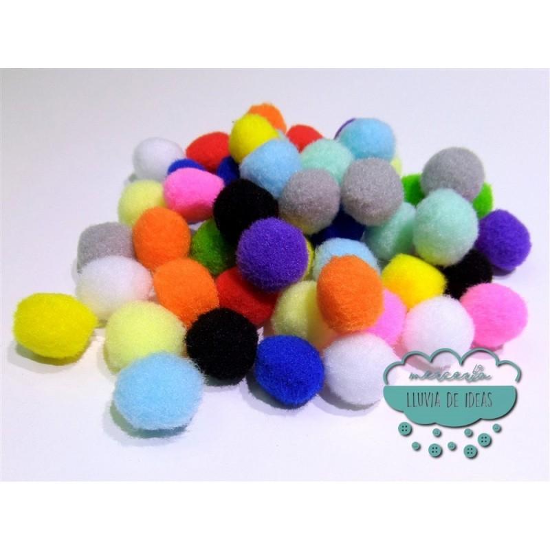 Pompones acrílicos - Colores lisos Ø 20 mm.