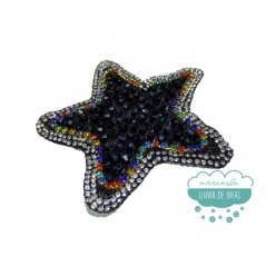 Aplicación termoadhesiva con cristal, rocalla y cadena de strass - Night Star