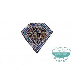 Aplicación termoadhesiva con rocalla, cristal y tachuelas de perlas - Diamante