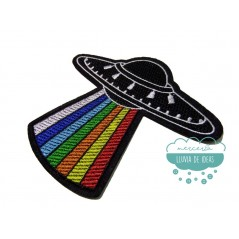 Parche bordado termoadhesivo - Ovni arco iris
