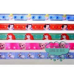 Cinta de raso o satén estampado - Colección Princesas Disney y Olaf