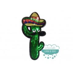 Parche bordado termoadhesivo con lentejuelas - Cactus mejicano