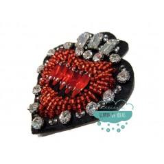 Parche termoadhesivo con rocalla decorativa - Corazón rojo