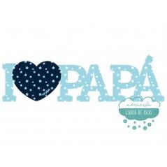 Letrero de madera turquesa - I love papá