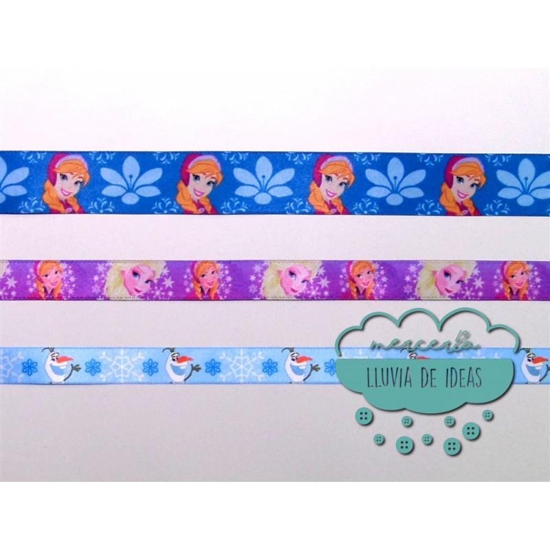 Cinta de raso o satén estampado - Colección Frozen Disney