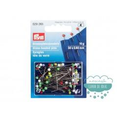 Caja de alfileres con cabeza de vidrio multicolor 30 x 0,60 mm. - Prym
