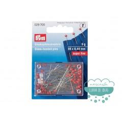Caja de alfileres extrafinos con cabeza de vidrio rojo 30 x 0,40 mm. - Prym