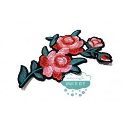 Parche bordado termoadhesivo - Rosas hojas verde esmeralda