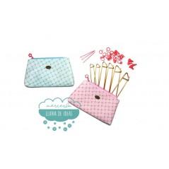 Estuche con juego de accesorios para tricotar DMC - Serie Flores