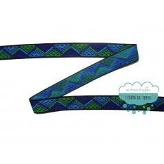 Goma elástica estampada zig zag 25 mm. azul/verde - Prym