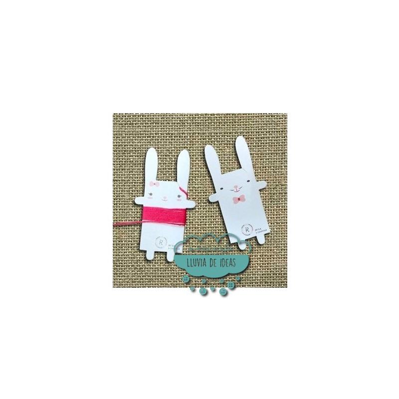 Cartulinas organizadoras de hilos con forma de conejitos