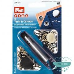 Botones de presión 'Yate & Caravana' 15 mm. plata - Prym