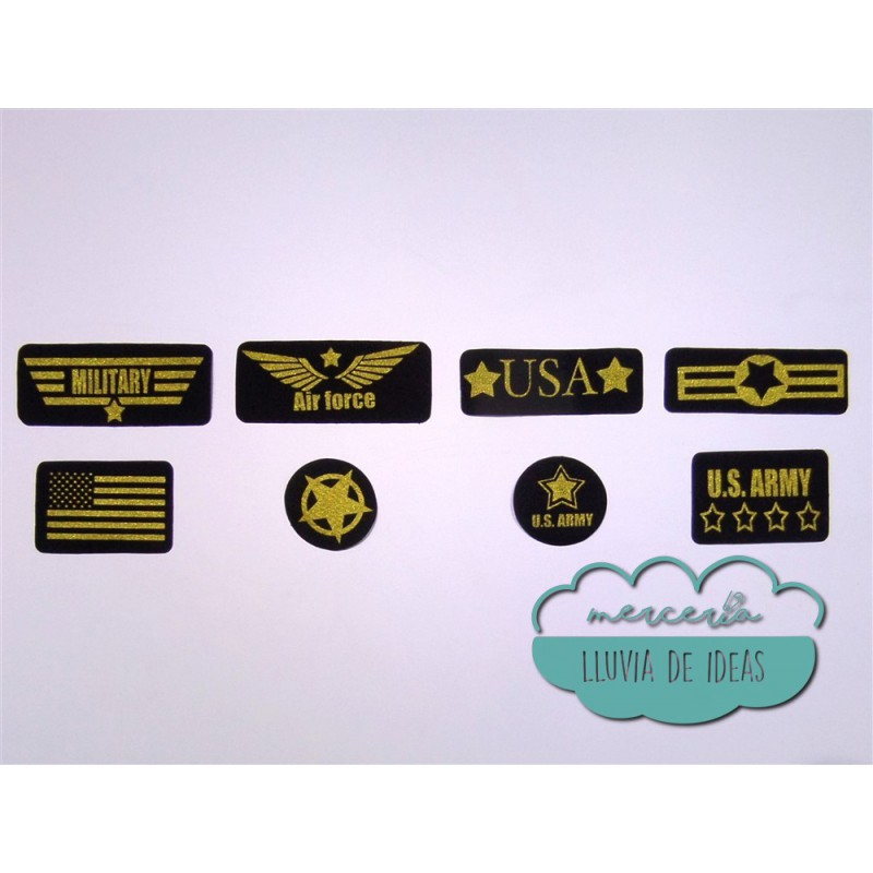 Parches serigrafiados termoadhesivos - Militares USA dorados
