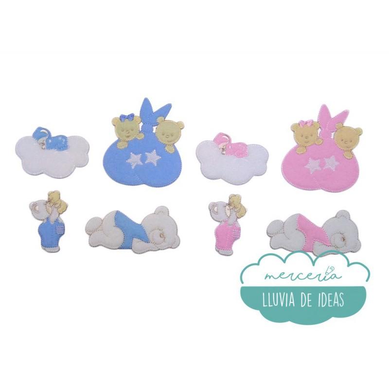 Parches bordados termoadhesivos - Colección Ositos rosa y azul