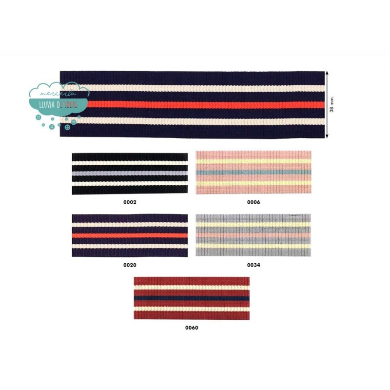 Cinta tejida rayas 38 mm. - Serie Navy