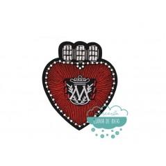 Parche termoadhesivo con rocalla y bordado central - Corazón rojo