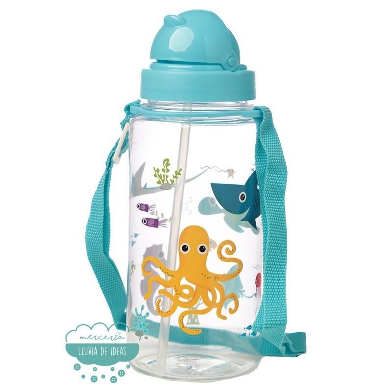 Botella infantil con correa y pajita - Mundo marino