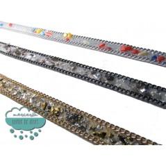 Tira termoadhesiva con cadenas y piedras 18 mm. - Serie Stone