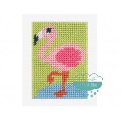 Kit cañamazo para niños - Flamenco rosa