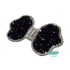Aplicación termoadhesiva con cristal, piedras y tupis - Lazo negro