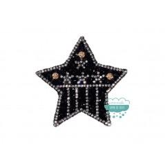 Aplicación termoadhesiva con cristal, tupis y detalle de flores - Estrella negra