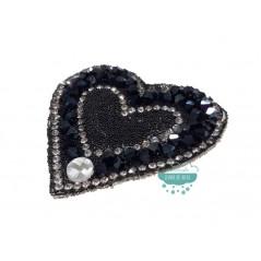 Aplicación termoadhesiva con cristal, piedra y tupis - Corazón negro