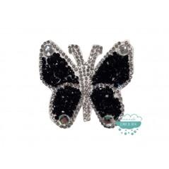Aplicación termoadhesiva con cristales, piedras y tupis - Mariposa negra