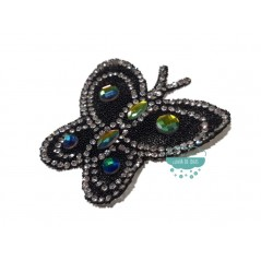Aplicación termoadhesiva con cristales y piedras - Mariposa multicolor