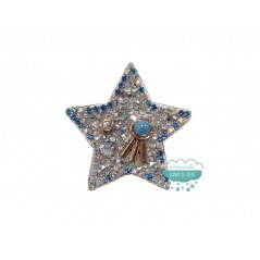 Aplicación termoadhesiva con cristales, tupis y abalorios - Estrella azul
