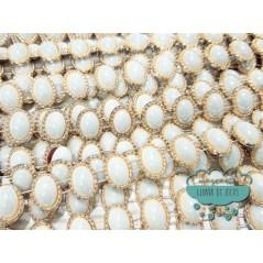 Pasamanería tipo cadeneta con perlas ovaladas - Serie Roman