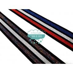 Goma elástica de rayas 40 mm. - Serie Glitter