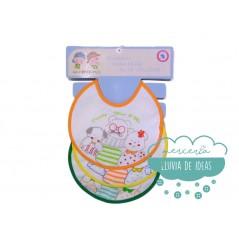 Babero rizo impermeable pack 3 unidades - Modelo Daddy, mum & me