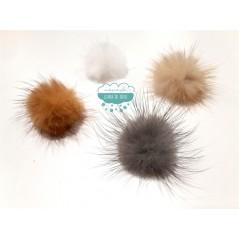 Pompones de pelo natural de visón - Ø 32 mm.