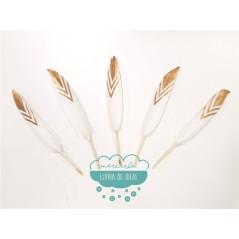 Pluma de pato blanca con punta dorada - Serie Flecha