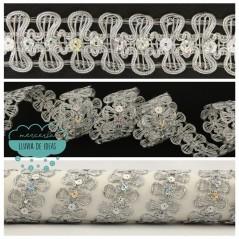 Pasamanería metalizada con lentejuelas - Serie Pétalos