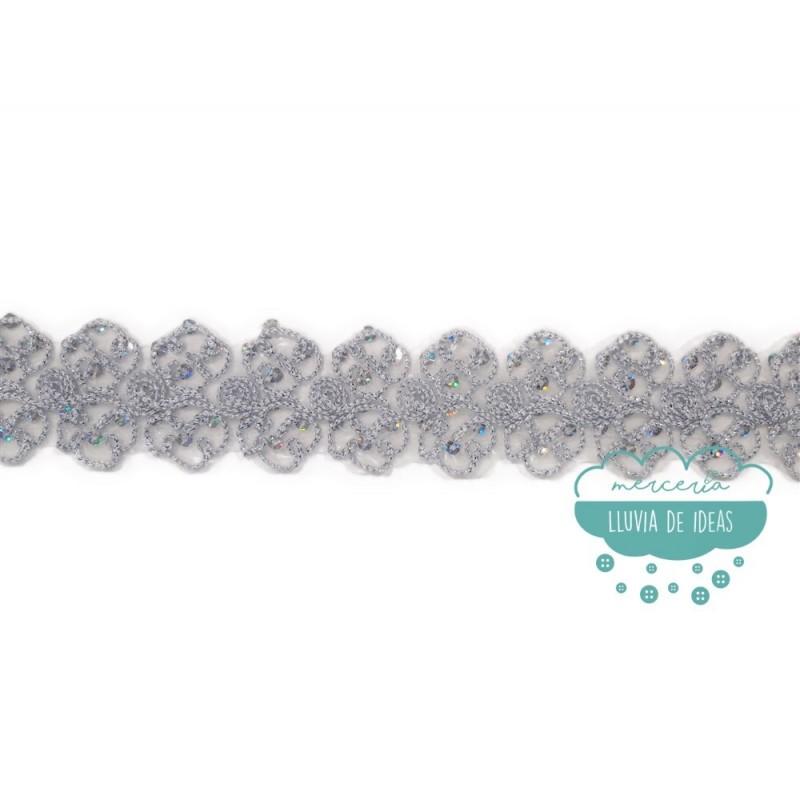 Pasamanería termoadhesiva bordada con lentejuelas - Serie Evelyn