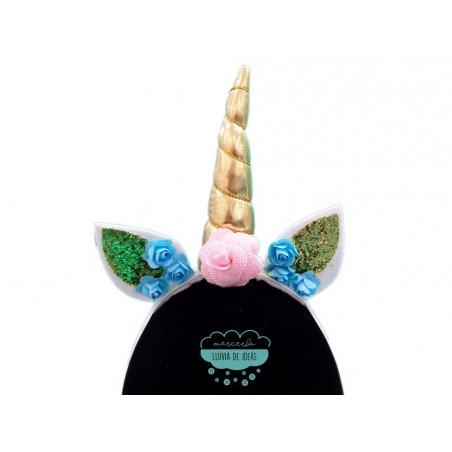 Diadema elástica unicornio con orejas y flores