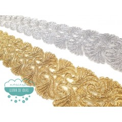 Pasamanería bordada metalizada - Serie Andrea