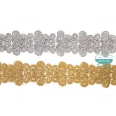 Pasamanería bordada metalizada - Serie Sara