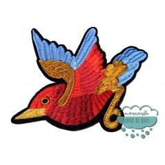 Parche bordado termoadhesivo - Mirlo ala azul