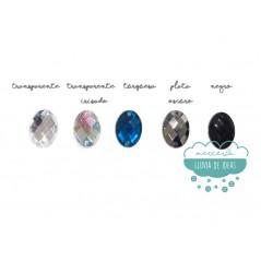 Piedra acrílica ovalada cristal 18 x 13 mm. - Varios colores