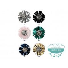 Aplique flor con paillettes y cristal - Serie Flowers