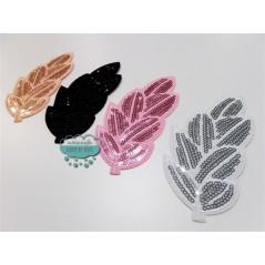 Parche bordado termoadhesivo con lentejuelas -  Hojas