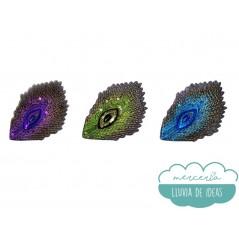 Parches bordados termoadhesivos con lentejuelas - Pavo Real