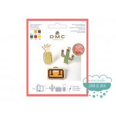 Kit colgantes de madera para bordar (piña, maleta, cactus) - DMC