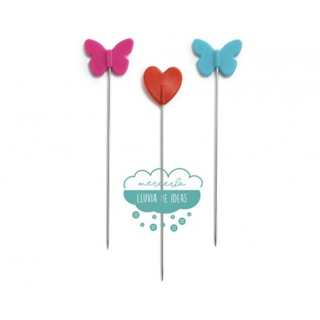 Alfileres cabeza plana con forma de corazón y mariposa - Prym Love